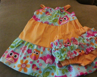 Colorful pillow case dress and ruffled panties