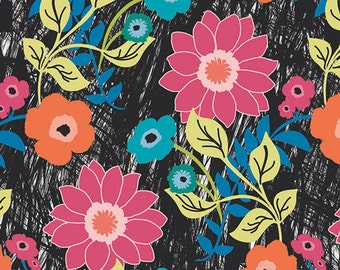 Floral Asphalt cotton fabric - Jungle Ave by Sara Lawson for Art Gallery - modern floral fabric, tween, modern quilt fabric, black floral