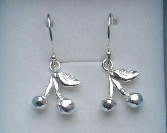 Silver Dangle Earrings ,Cherries Silver Earrings ,Girls Silver Earrings ,Sterling Silver Unique Earrings ,Handmade Silver Little Earrings
