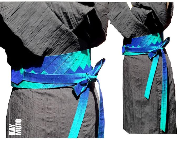 Obi belt sash INTARSIA  GREENBLUE silk dupioni