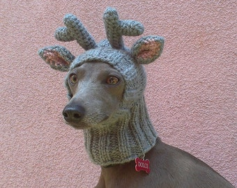 Reindeer Dog Hat / Reindeer Dog Snood / Christmas Dog Hat / Dog Hat / Knit Dog Hat