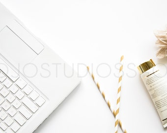 ON SALE Styled Stock Photography, White and Gold, Mock Up, Digital Background