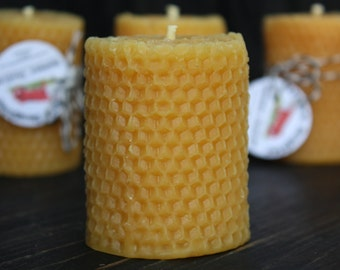 Honeycomb BEESWAX PILLAR SET of 2, Solid Pure Beeswax Candle with Rolled Look, hygge decor, farmhouse decor,  host gift, Pure Beeswax Candle