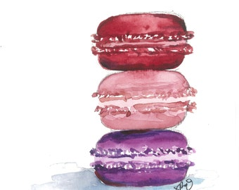 French Macaron Watercolor (multiple sizes available)