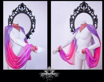 Bellydance fantasy costume goddess wings  sleeves beads choker isis wings temple dance tribal fusion priestess