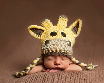 Giraffe Hat. Baby Crochet Giraffe Hat. Newborn Giraffe hat. Available in many sizes, kid/infant/toddler/ giraffe hat. Perfect Newborn prop.