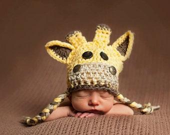 Newborn Giraffe Hat, Baby Crochet Giraffe Hat. Available in bigger sizes, kid/infant/toddler/ giraffe hat. Perfect Photo Newborn prop.
