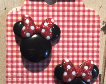 Mickey & Minnie Mouse earrings on nickel free posts. (penny to show size)