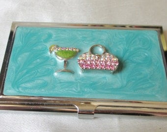 """SALE  Card Case, 3 1/2"""" by 3 1/4"""", Silvertone Metal, Glittery Purse and Champagne Glass Decoration,"""