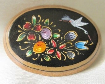 Hand Painted Wooden Brooch. Floral Motif , Wood Jewelry,  Costume Jewelry, Collectible