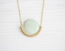 Amazonite & Brass Tube Dangle Semi Circle Necklace