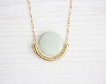 Amazonite & Brass Tube Dangle Semi Circle Necklace