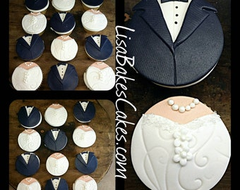 Bride and Groom edible cupcake toppers