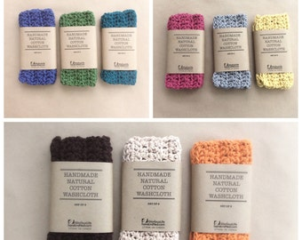 Cotton Spa Cloth / Wash Cloth - Set of 2 - Handmade - Eco Friendly - Natural - Crocheted