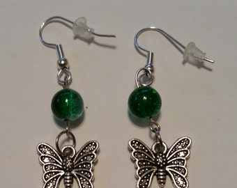 Butterfly Earrings with Green beads