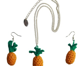 Necklace with crocheted pineapple and matching earrings