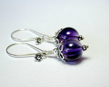 Sterling Silver Amethyst Earrings, Berry Earrings, Bali Sterling Silver Earrings, Drop Earrings, Gemstone Earrings, Amethyst Earrings
