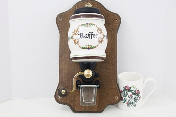Wall Mounted Grinder ~ Vintage zassenhaus wall mount coffee grinder with porcelain