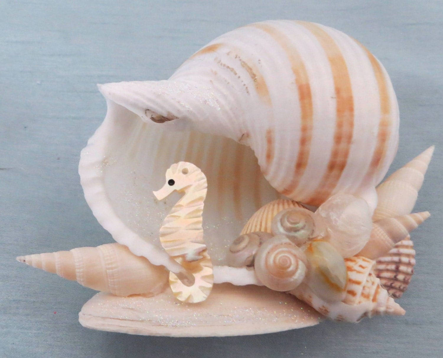 Mother Of Pearl Seahorse And Seashell Table Top Decor Beach