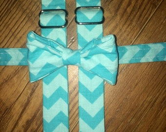 Boys/Toddler teal Chevron Print/Bow tie and Suspenders/Perfect for weddings and ring bearers
