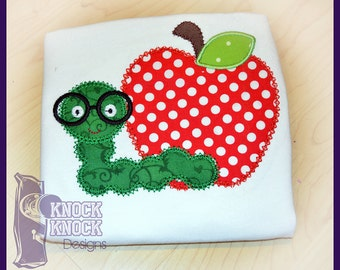 Back to School Worm and Apple Appliqued Shirt