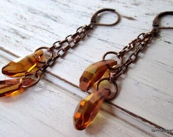 Copper Earring, Crysytal Earring, Swarovski Earrings Rhinestone Jewelry