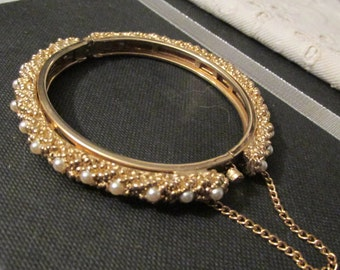 Regal CLAMPER BRACELET Faux Pearls Decorative Beaded Gold Tone 1970's Women's Gift Anniversary, Wedding, Birthday, All Occasion