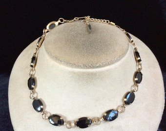 Vintage Black Glass Stone Necklace