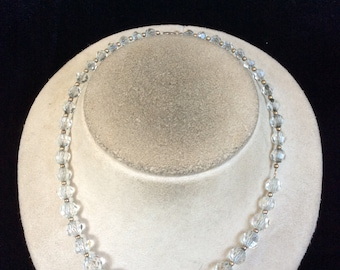 Vintage Graduated Clear Glass Beaded Necklace