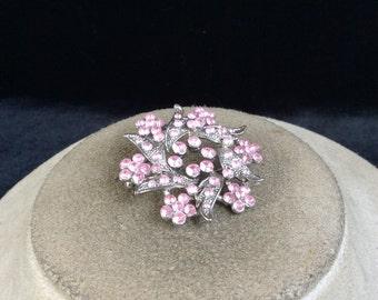 Vintage 3-D Pink Rhinestone Floral Pin