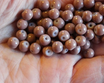70 glass beads, 6 mm taupe  round and smooth, bubblegum style beads, baking painted