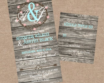 Printable Rustic Barn Wedding invitation Set with RSVP card | White / Robins egg Blue Personalized | DIY Printable Invitations