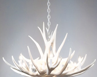 White antler chandelier faux antler chandelier w3c antler white antler chandelier faux deer antler chandelier d9 aloadofball Choice Image