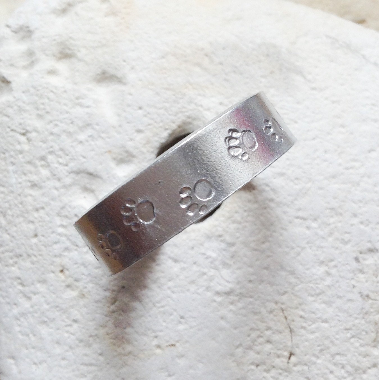 dog cat paw print ring - vegan jewellery - vegan jewelry - unisex vegan - for her - handstamped ring -  small medium and large.