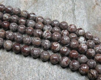 8 mm Brown Snowflake Obsidian Beads, 15.5 inch strand - Item B0479