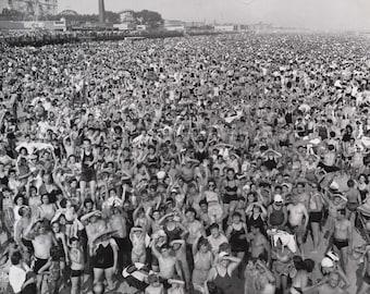 Crowd at the Coney Island Beach, New York- 1940s Photo Print
