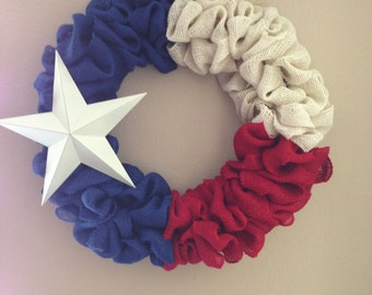 Burlap Texas flag wreath