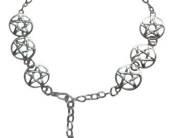 9 Pentacle Silver Plated Anklet Bracelet