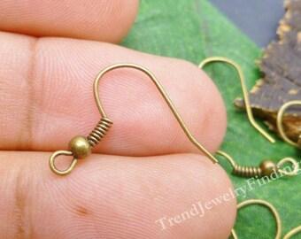 20 Bronze Ear Hooks - Bronze French Earwires - Earrings Findings -EF001