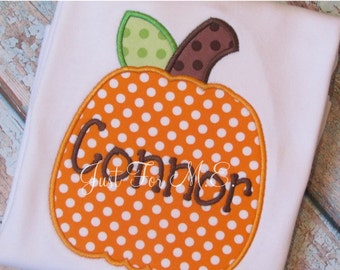 Boys Personalized Fall Pumpkin Applique shirt or onesie Great for Halloween, Pumpkin Patch, and Thanksgiving FREE MONOGRAM