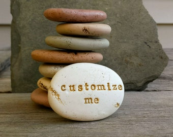 Personalized stones | customized clay word small stone | zen garden stones | personalized spa decor | personalized name stones