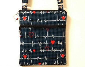 "Crossbody Nurses Purse,Heart Beat Print,Nurses Bag,Shoulder Nurse Bag, Front Lined Zipper Pocket, 68"" Adjustable Strap Nylon/Cotton Lining."