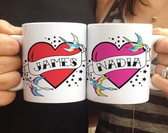 Mom & Dad Mug Set, Mom and Dad Tattoo Mugs, Custom Coffee Mug Set, Mom and Dad Gift