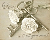 "Love Is All You Need, Romantic Quote, Inspirational Typography, Shabby and Chic, Beige Art, Love Print, Vintage Keys- ""Tangled Love Quote"""