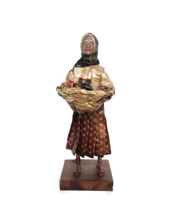 Vintage paper mache woman ethnic folk art peasant with pottery