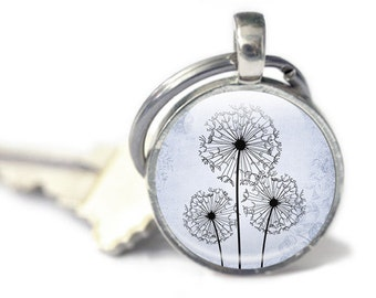 Dandelion Keyfob - Blue Dandelion Keyfob - Blue Glass Keyfob (keyfob 1)