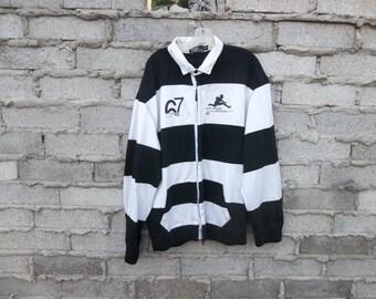 Dope Sweatshirt Cardigan 90s by Ralph Lauren Black and White Stripe sz fits XL Bold Loud Hip Hop Inspired Elvis Presley Revival