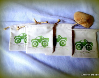 "Green Monster Truck Party Favor Bags, Birthday, Drawstring, 3"" x 4"""
