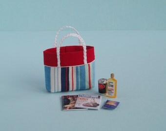 Beach Bag or Tote with Beach Accessories - 1:12 or 1/12 Scale Dollhouse Miniature, Nautical Stripes, Red Trim for Beach, Vacation or Garden