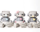 Baby Robot in a Diaper with Pacifier Pick Boy or Girl - Pick Pink, Blue or Yellow, Geek Baby Robot Nursery Decor